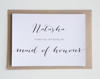 Personalised Wedding Cards || Thank You BRIDAL PARTY bridesmaid; maid of honour; groomsman; best man