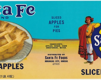 Santa Fe Brand Sliced Apples Vintage Can Label Santa Fe Foods Arkansas City, Kansas