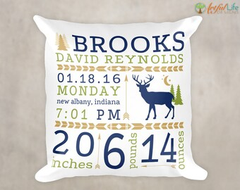 DEER NURSERY DECOR, Woodlands Nursery, Personalized Birth Stats Pillow, Birth Announcement Pillow, Rustic Nursery, Nursery Pillow