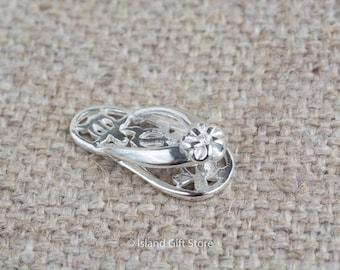 925 Sterling Silver Plumeria and Turtle Slipper Pendant