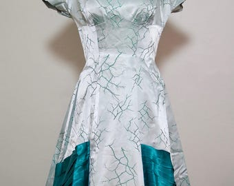 1940s /1950s Teal and Silver Brocade ball gown / prom dress / bow
