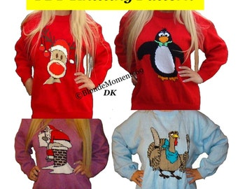 """4 x Childrens & Adults Christmas Jumper Knitting Patterns #6 Rudolph Penguin Santa Turkey PDF Instant Download Xmas 24 - 40"""" Chest"""