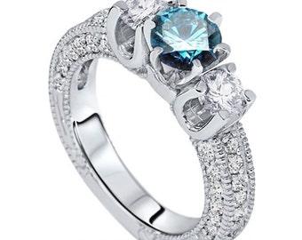 Vintage 2.00Ct Blue Diamond Engagement 3-Stone Ring 14K White Gold