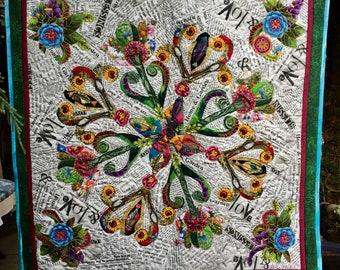Collage Fabric Art Quilt Wall hanging