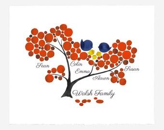 Custom FAMILY TREE print - wall art wall decor, room decor, art poster, Anniversary, Special Day Family Tree, Birthday