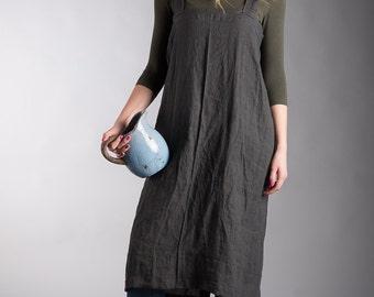 Linen Apron / Linen Artist Smock / Washed Linen Apron / Washed Linen Pinafore Long Japanese Apron / Gardener apron / Linen overall
