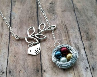 grandma mothers day personalized birthstone necklace custom bird nest necklace gift mom gift  family tree necklace mother gift from daughter