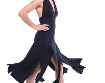 "Tango Dress ""Ragged"", Custom Size Tango Dress, Custom Color Tango Clothes, Dance Costume, Dance Clothing, Black Dance Dress"