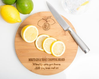Personalised G&T Chopping Board, Gin and Tonic, Drinks Chopping Board, Chopping Board, Gin Lovers Gift, Personalised Gin and Tonic, Gin Gift