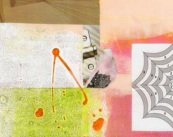 Déséquilibré - Collage avec papiers 8 x 8 sur 14 x 11 support peint