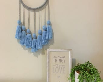Baby blue dream catcher, tassel wall hanging, boho wall hanging art, modern dream catcher, tassel dream catcher, wall decor, nursery decor
