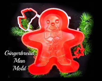 Gingerbread man - gingerbread mold -Holiday baking - Christmas party baking - gingerbread plastic mold - jello gingerbread , # 46