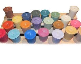Votive 12 Pack Pick a Color ~ Natural Soy Blend Votive Wax ~ 15 Hour Burn Time ~ Unscented Soy Candles