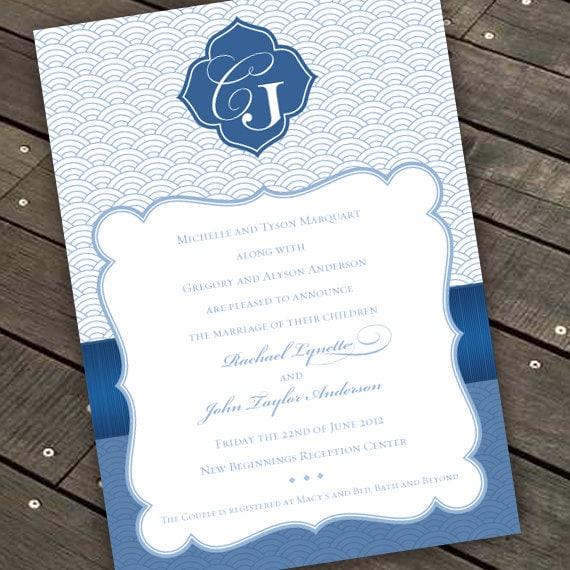 wedding invitations, bridal shower invitations, art deco wedding invitations, sodalite invitations, cobalt monogram invitations, IN286.2