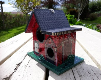 Wooden Hanging Birdhouse Birdbox, Garden Ornament, Hand Painted Acrylic 'Victorian Gothic' Style House, Decoration, Outside, Spring, Summer