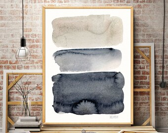Grey and black minimalist watercolor painting. Minimalist contemporary watercolour artwork. Modern minimalist art print. Abstract giclee art