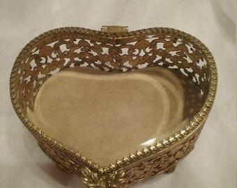 Vintage heart shaped gold filigree jewelry box