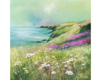 Giclee print, cornish seascape, coastal art, cliffs, wild flowers, made in Cornwall