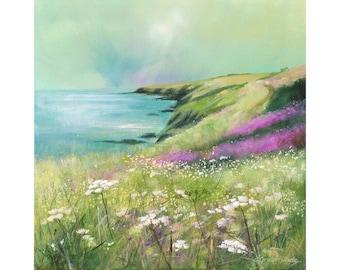 Giclee print, cornish seascape, coastal art, cliffs, wild flowers, made in Cornwall