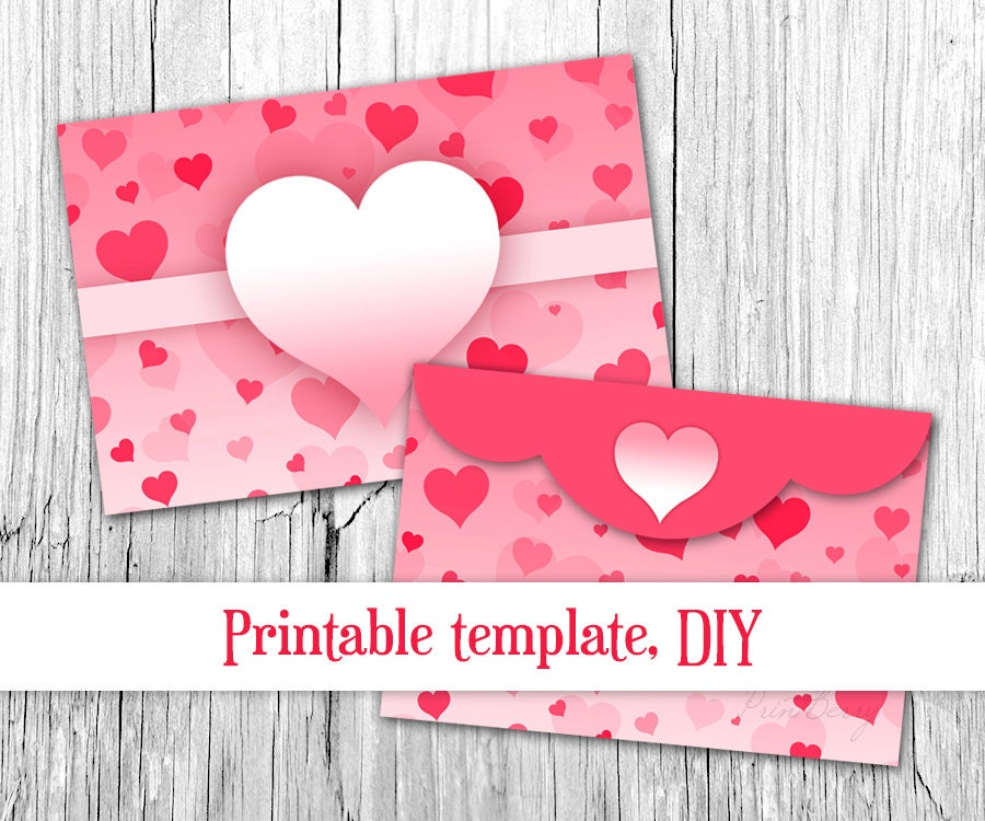 Pink heart envelope Valentine envelope template 4x6 Envelopes