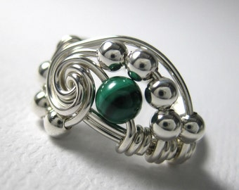 Math Jewelry Wire Wrapped Pi Ring Malachite and Sterling Silver Math Ring