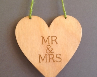 Mr & Mrs Hanging heart made from birch faced laser ply
