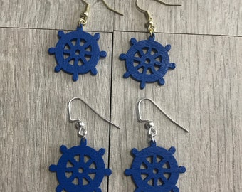 Dark blue ship wheel earrings