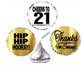21st Birthday Anniversary Hooray Thanks For Coming Stickers / Labels for  Hershey's Kisses Party Favors Decorations - 216pk