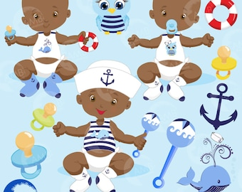 Baby Boy Clipart, Nautical Baby Boy Clipart, Sailor Clipart, African American Baby Clip Art, Nautical, commercial use, AMB-975