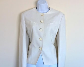 Vintage 90s Cream Blazer Windsmoor Chic Size Medium Gold Woven Tailored Fashion Retro 1950s Style