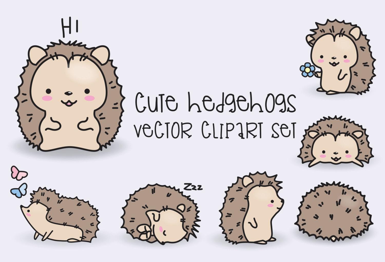 Premium Vector Clipart Kawaii Hedgehogs Cute Hedgehogs