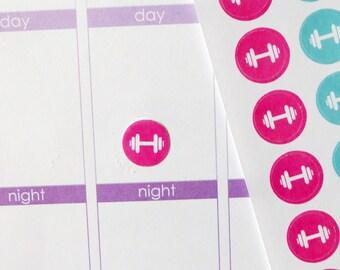 63 Dumbbell Workout Stickers for Erin Condren Planner, Filofax, Plum Paper