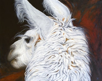 "White Llama, ""One is the Loneliest Number,"" giclée print from original acrylic painting by Tracy Anderson"