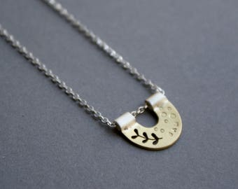 Personalised brass and silver nest necklace