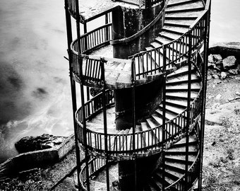 Pismo Beach Photography Print Old Lighthouse Staircase Black and White Photograph Wall Decor | Also Available on Canvas or Metal