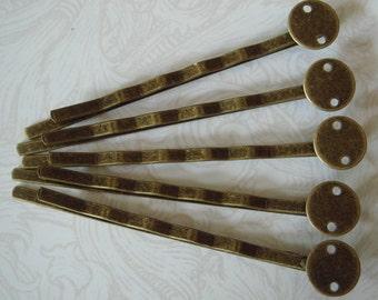 24 Pcs Antique Brass Bobby Pin W/8mm Pad, NICKEL FREE