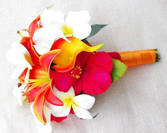 Natural Touch Silk Wedding Bouquet - Red and Orange Lilies, Callas, Plumerias and Hibiscus - Almost Fresh