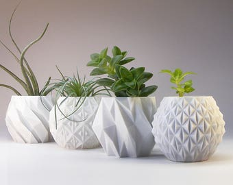 Gardening Gift Modern Planter Modern Home Decor Geometric Planter Gift Succulent Pot Desk Planter Pots Small Planter Set 3D Printed Planter