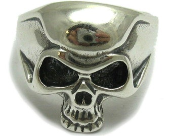 Sterling silver pendant solid 925 skull ring biker