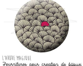2 cabochons glue Japan pattern ref 1607 glass 20 mm gray Fuchsia range-