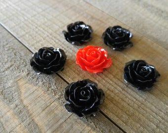 Flower Cabochons Resin Flowers Flower Flat Backs Resin Cabochons Flat Back Flowers Rose Cabochons 18mm Cabochons 18mm Red Black Flowers 6pcs