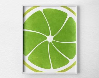 Lime Print, Citrus Print, Citrus Decor, Fruit Kitchen Art, Kitchen Decor, Kitchen Poster, Kitchen Print, Modern Decor, Lime Green Art, 0088