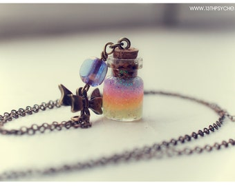 Cute bow with Rainbow Bottle pendant, with glitter gel. Glass Vial Necklace, miniature bottle charm necklace, rainbow bottle, cute gift