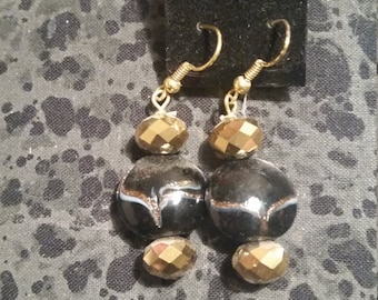 Black Lamp Work Glass Beads with Gold Accent