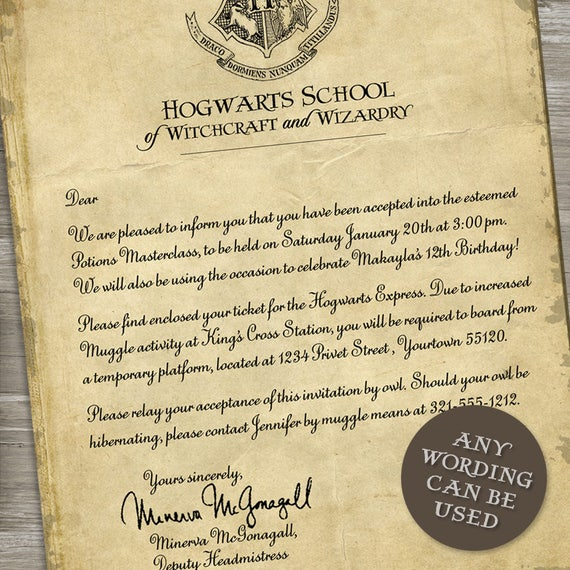 Harry potter birthday party invitation acceptance letter harry potter birthday party invitation acceptance letter train ticket printable digital file stopboris Images