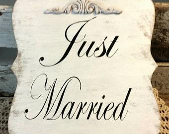 Wedding Sign Just Married Wood White Shabby Custom Photo Prop Aisle Flower Girl Ring Bearer