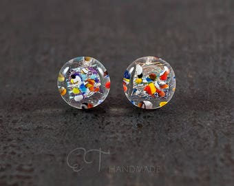 Murano glass colorful stud earrings - Unique jewelry dichroic glass stud earrings for sensitive ears