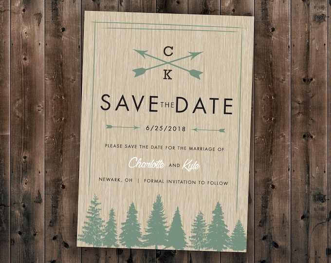 Woods Rustic Tree Save the Date Printed, Country Wedding Invitations, Woods, Outdoors, Wedding Invitations, Affordable, Pine Trees