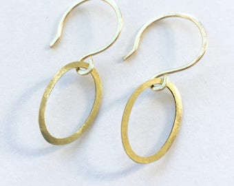 Earrings raw brass hammered ovals simple nickel free