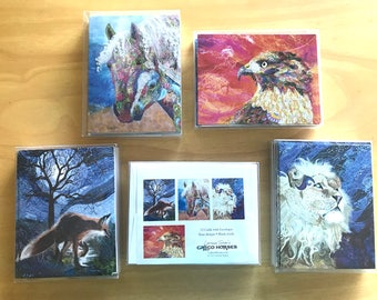 Wildlife Textile Art Note Cards Set